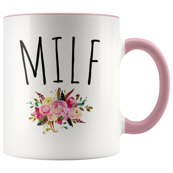MILF Mug Mom Gag Gift Funny Wife Gifts for Mother's Day Floral Coffee Cup