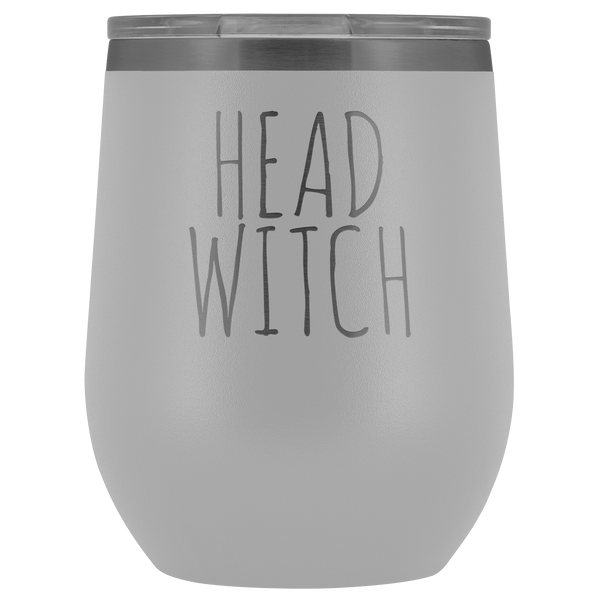 Head Witch Halloween Wine Tumbler Funny Fall Gifts for Friends and Witches Stemless Insulated Hot Cold BPA Free 12oz Travel Sippy Cup