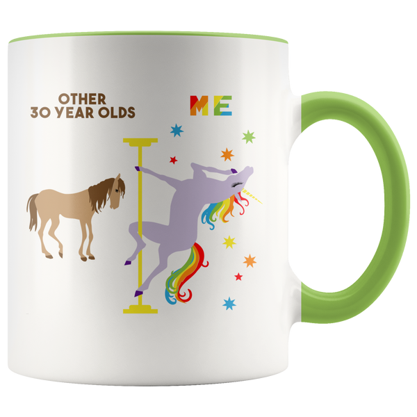Pole Dancing Unicorn Mug 30th Birthday Gift For Women Turning 30 and Fabulous 30th Bday Dirty 30 Years Old