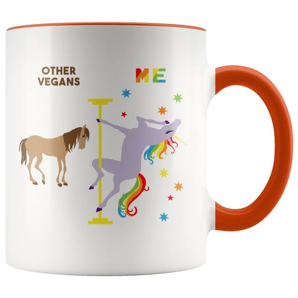 Vegan Gifts for Vegans Mug Funny Pole Dancing Unicorn Rainbow Coffee Cup 11oz