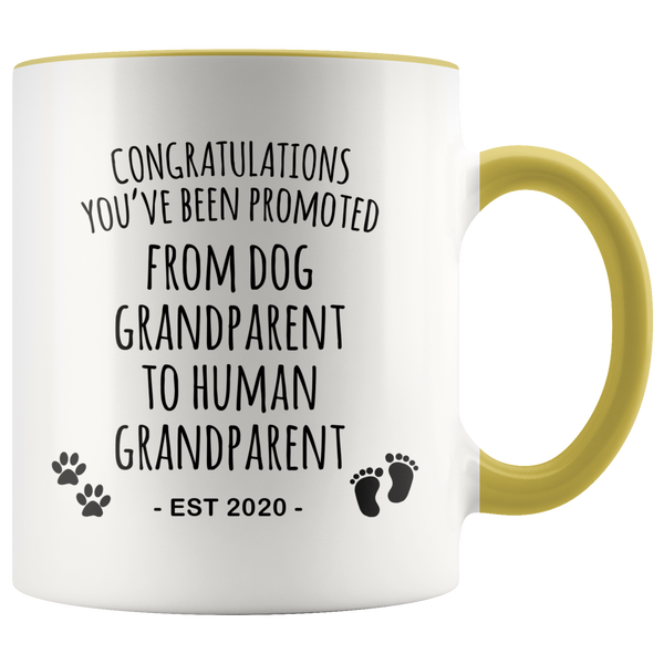 Dog Grandparent To Human Grandparent Mug Est 2020 Pregnancy Reveal First Time Grandparent Gift Promoted to Grandparent Cup Baby Announcement