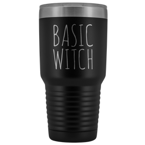 Basic Witch Tumbler Funny Fall Halloween Gifts for Friends Metal Mug Insulated Hot Cold Travel Coffee Cup 30oz BPA Free