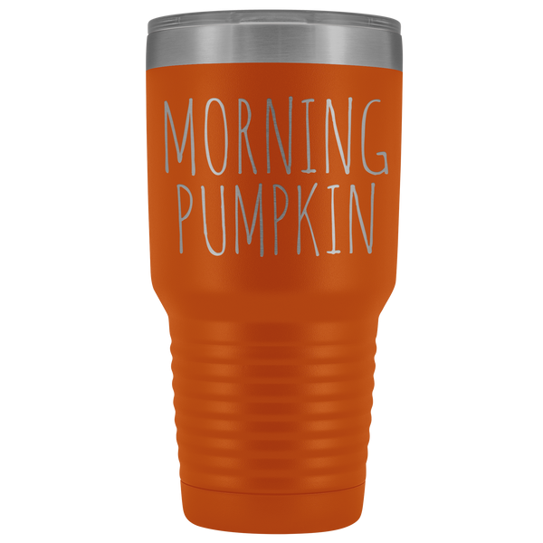 Morning Pumpkin Spice Tumbler Funny Fall Gifts for Friends Metal Mug Insulated Hot Cold Travel Coffee Cup 30oz BPA Free