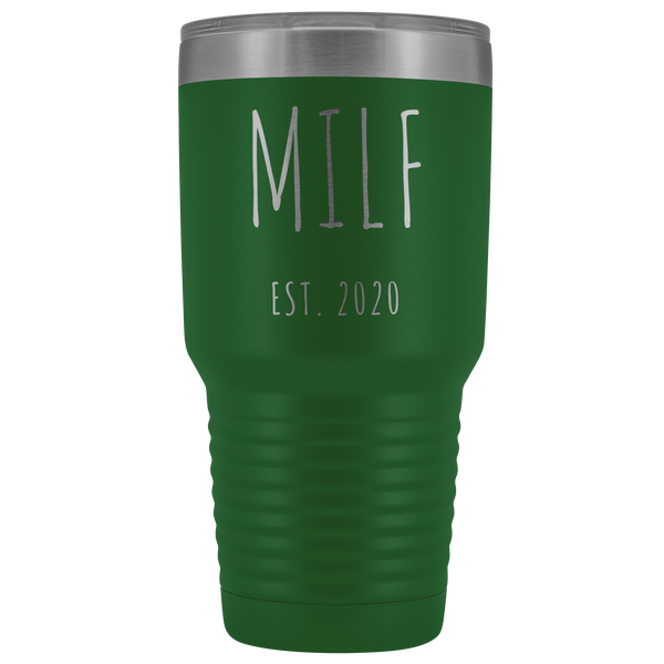 MILF Mug Present For New Mom Gifts Funny New Mother Est 2020 Tumbler Metal Insulated Hot Cold Travel Coffee Cup 30oz BPA Free