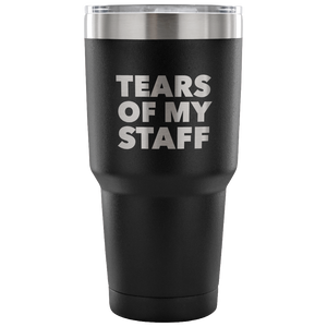 Tears of My Staff Funny Boss Mug Gifts for Boss Appreciation Christmas Present Boss Tumbler Metal Mug Double Wall Vacuum Insulated Hot & Cold Travel Cup 30oz BPA Free
