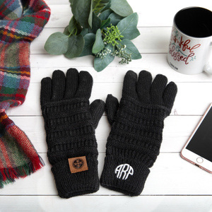 Monogrammed Knitted Winter Gloves Personalized Gift for Women Gifts for Her Christmas Present