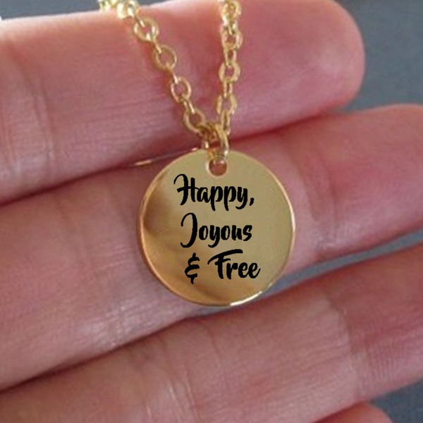Happy, Joyous & Free 18K Gold Plated Engraved Necklace - One Year Sobriety Gifts - Addiction Recovery Gifts - One Year Anniversary Sober Gift - Sponsor Gift - Sponsee Gift