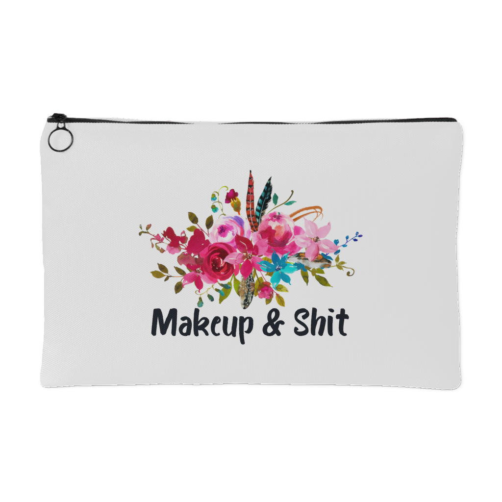 Makeup & Shit Cosmetic Bag Floral Pouch