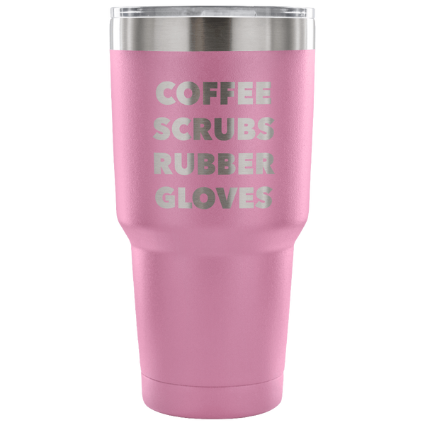 Coffee Scrubs Rubber Gloves Metal Mug Double Wall Vacuum Insulated Hot & Cold Travel Cup 30oz BPA Free