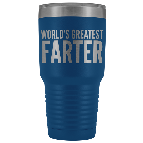 World's Greatest Farter Tumbler Funny Father's Day Fart Gifts for Dad Joke Insulated Hot Cold Travel Cup 30oz BPA Free