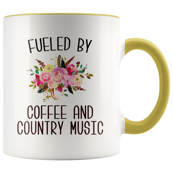 Fueled By Coffee and Country Music Mug Country Coffee Cup Cute Floral Country Western Music Fan Gift for Her Nashville Mug I Love Country