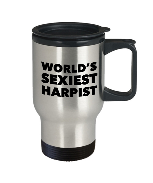 Harp Player Gifts World's Sexiest Harpist Travel Mug Stainless Steel Insulated Coffee Cup