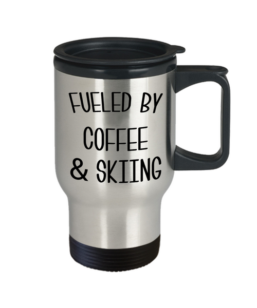 Funny Skier Gift Fueled By Coffee and Skiing Mug Winter Travel Coffee Cup