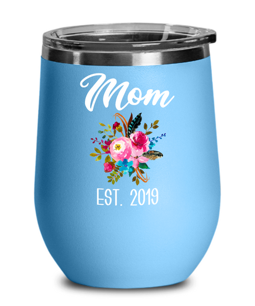 New Mom Wine Tumbler Expecting Mommy to Be Gifts Est 2019 Baby Shower Gift Pregnancy Announcement Insulated Hot Cold Travel Cup BPA Free