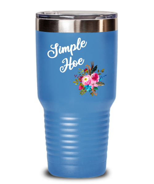 Simple Hoe Tumbler Funny Floral Mug Rude Gag Gift Idea for Women Crass Insulting Best Friend Birthday Gifts for Her Floral Insulated Hot Cold Travel Coffee Cup BPA Free