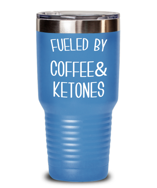 Keto Tumbler Fueled By Coffee and Ketones Mug Keto Travel Cup Funny Weight Loss Humor Gift BPA Free