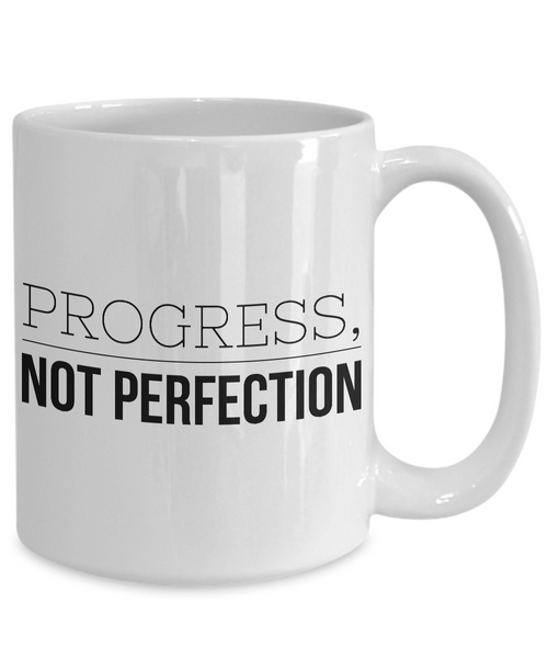 Serenity Prayer & Progress Not Perfection Mug One Year Sober Anniversary Gift AA Coffee Cup Sobriety Gifts Sponsor Gift Sponsee Recovery Coffee Mug-Cute But Rude