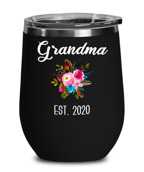 Grandma to be Gifts for New Grandma Est 2020 Wine Tumbler Pregnancy Announcement for Grandparents Reveal Insulated Hot Cold Travel Cup BPA Free