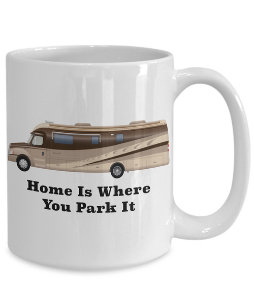 Home is Where You Park It RV Coffee Cup Happy Camper Mug Retirement Gift-Coffee Mug-HollyWood & Twine