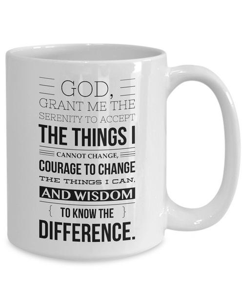 Serenity Prayer Mug One Year Sober Anniversary Gift AA Coffee Cup Sobriety Gift Alcoholics Anonymous Coffee Mug Sponsor Gift Sponsee Recovery Gift-Cute But Rude