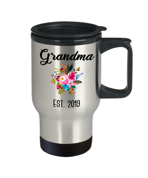 Grandma to be Mug Gifts for New Grandma Est 2019 Pregnancy Announcement for Grandparents Reveal to Grandparents Insulated Travel Coffee Cup