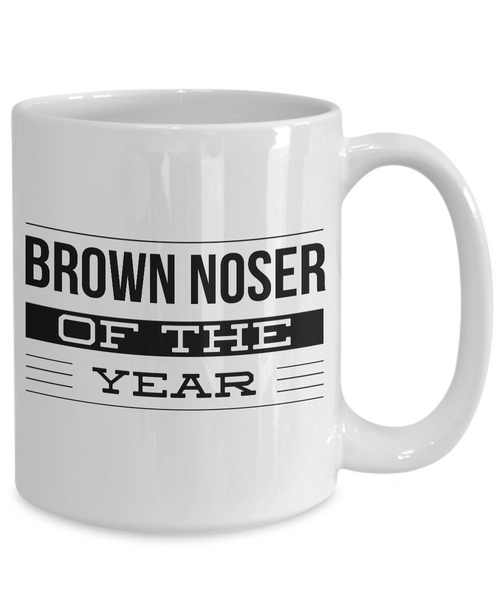 Brown Noser Coffee Mug Gag Gifts - Brown Noser of the Year Award Funny Ceramic Coffee Cup-Cute But Rude