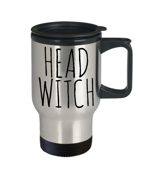 Head Witch Cauldron Mug Funny Halloween Stainless Steel Insulated Travel Coffee Cup Gifts for Witches-Cute But Rude