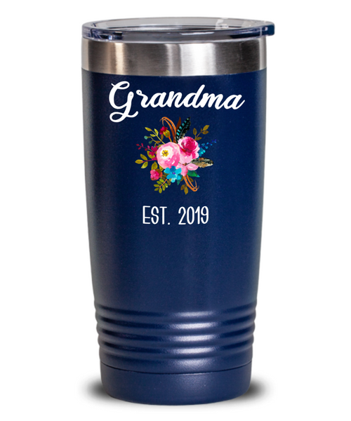 Grandma to be Mug Gifts for New Grandma Est 2019 Pregnancy Announcement for Grandparents Reveal Insulated Hot Cold Travel Coffee Cup BPA Free