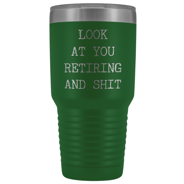 Funny Retirement Gifts Look at You Retiring Tumbler Metal Mug Insulated Hot Cold Travel Coffee Cup 30oz BPA Free