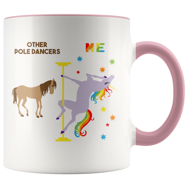 Pole Dancer Gifts Pole Dancing Mug Funny Rainbow Unicorn Coffee Cup