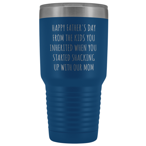 Stepdad Mug Stepfather Gift Idea Gifts for Stepdads Funny Happy Father's Day From the Kids You Inherited When You Started Shacking Up with Our Mom Metal Mug Double Wall Vacuum Insulated Hot Cold Travel Cup 30oz BPA Free