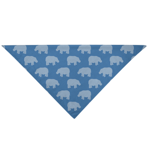 Hippopotamus Dog Scarf Blue Mini Hippo Bandana for Pitbull, American Bully, Bulldog Staffy Dogs