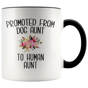 Promoted From Dog Aunt To Human Aunt Mug New Aunt Pregnancy Announcement Aunt Reveal Gift for Her Baby Shower Gifts