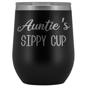 Auntie's Sippy Cup Auntie Wine Tumbler Gifts Funny Stemless Stainless Steel Insulated Wine Tumblers Hot Cold BPA Free 12oz Travel Cup
