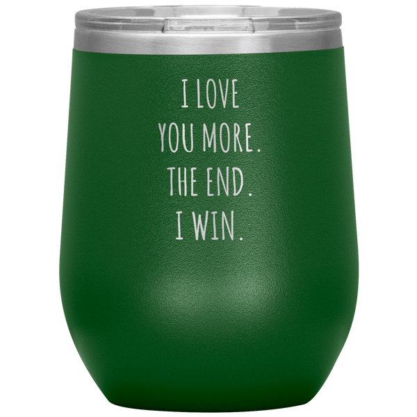 Valentines Day Gift for Him Valentine's Gifts for Her Boyfriend Girlfriend I Love You More Stemless Stainless Steel Insulated Wine Tumbler Cup BPA Free 12oz