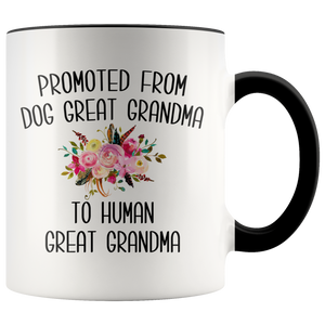 Promoted From Dog Great Grandma To Human Great Grandma Mug Great Grandmother Pregnancy Announcement Reveal Gift for Her