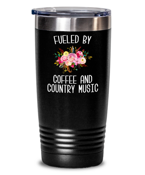 Fueled By Coffee and Country Music Tumbler Country Insulated Travel Coffee Cup Cute Floral Country Western Music Fan Gift for Her Nashville Mug I Love Country BPA Free
