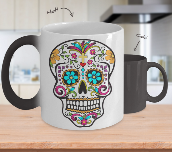 Day of the Dead Mug - Sugar Skull Magical Color Changing Mug - Mexican Folk Art - Dia De Los Muertos Coffee Cup