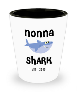 Nonna Shark New Nonna Est 2019 Do Do Do Expecting Nonnas Baby Shower Pregnancy Reveal Announcement Gifts Ceramic Shot Glass
