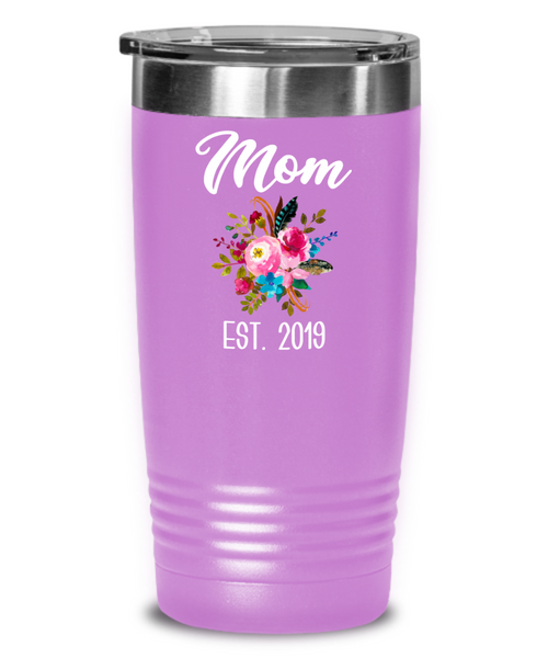 New Mom Tumbler Expecting Mommy to Be Gifts Est 2019 Baby Shower Gift Pregnancy Announcement Insulated Hot Cold Travel Coffee Cup BPA Free