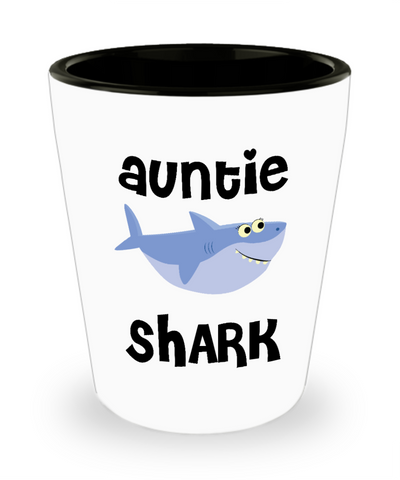 Auntie Shark Do Do Do Gift Idea Aunty Birthday Gifts for Aunties Ceramic Shot Glass