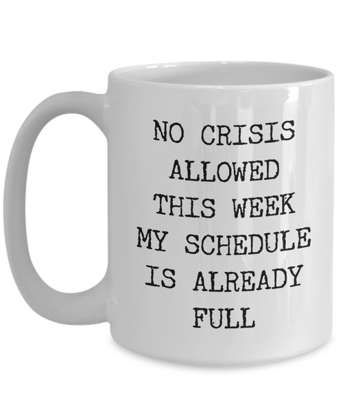 Funny Coworker Mug No Crisis Allowed This Week My Schedule is Already Full Coffee Cup Gift