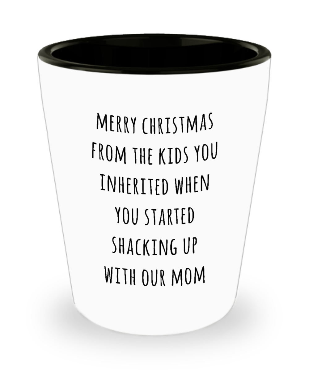 Stepdad Christmas Present Stepfather Gift for Stepdads Funny Merry Christmas from the Kids You Inherited When You Started Shacking with Our Mom Ceramic Shot Glass