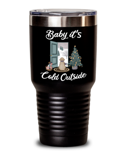 Baby it's Cold Outside Tumbler Christmas Mug Gift Cute Winter Scene Mugs with Sayings Gift for Grandma Dog Lover Travel Coffee Cup Stocking Stuffer
