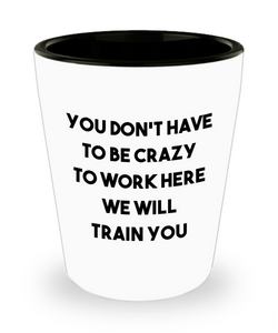 You Don't Have to be Crazy to Work Here We Will Train You Funny Coworker Gift Ceramic Shot Glass