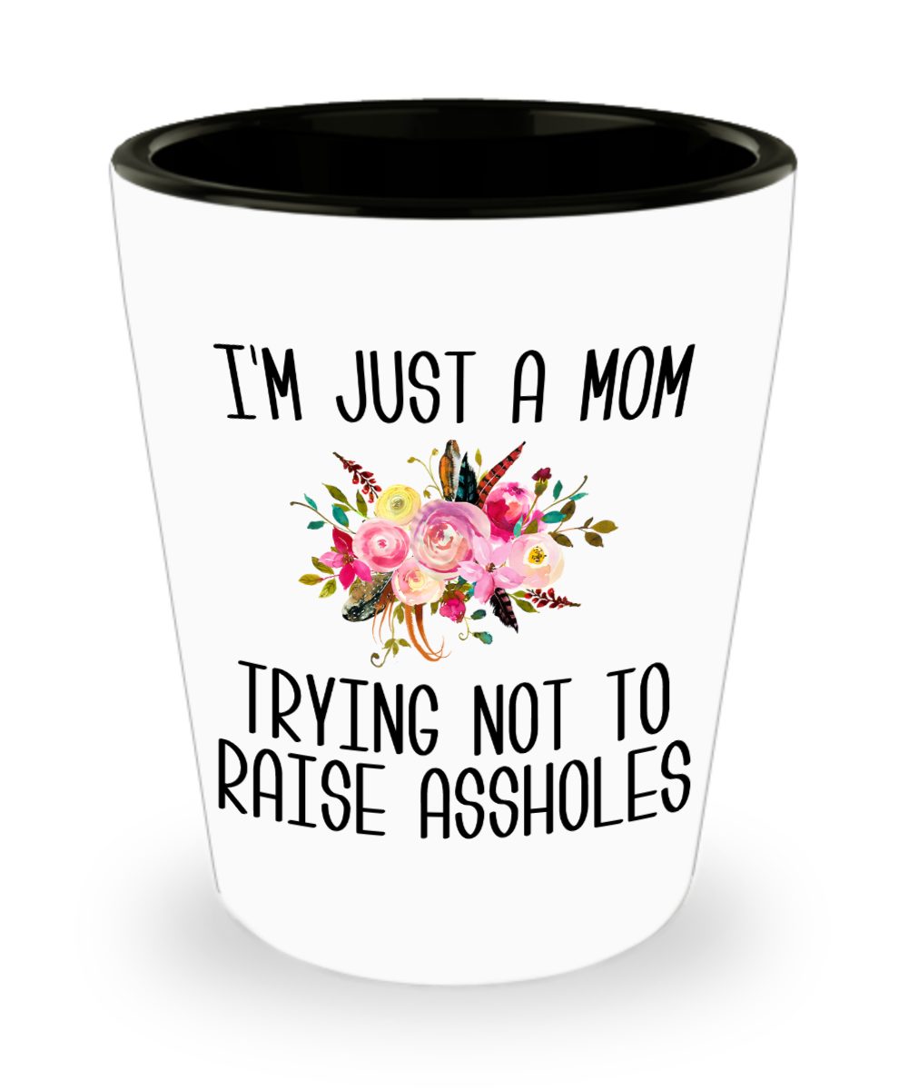 I'm Just a Mom Trying Not to Raise Assholes Sarcastic Shot Glass Funny Mother's Day Gift