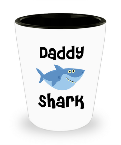 Daddy Shark Do Do Do Gift Idea Birthday Gifts for Daddies Ceramic Shot Glass Father's Day Present