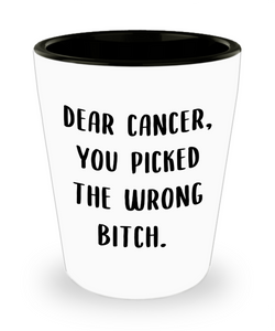 Gift for Breast Cancer Patient Dear Cancer You Picked the Wrong Bitch Shot Glass