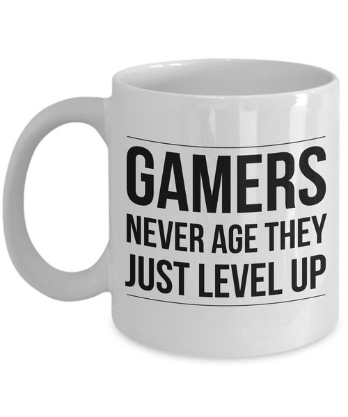 Gamer Themed Mugs - Gamers Never Age They Just Level Up Ceramic Coffee Cup-Coffee Mug-HollyWood & Twine
