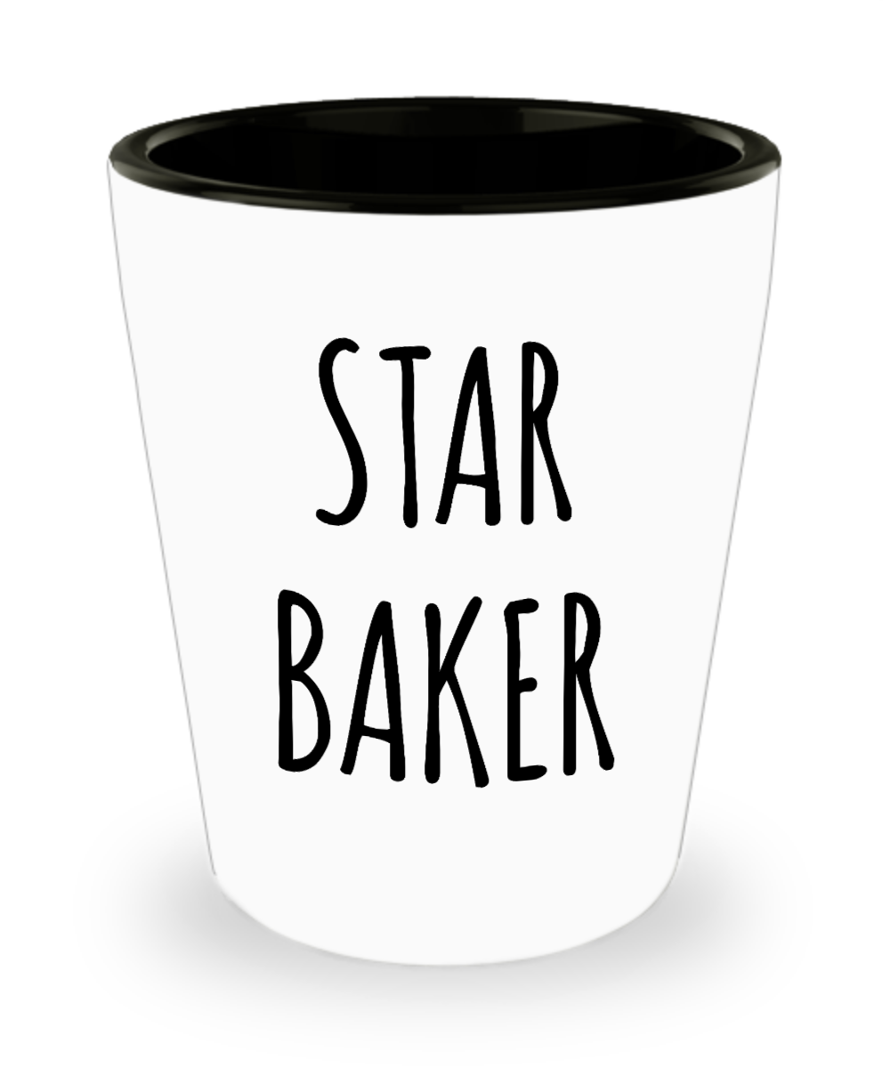 Star Baker Funny Baking Gift for Bakers Pastry Chef Ceramic Shot Glass